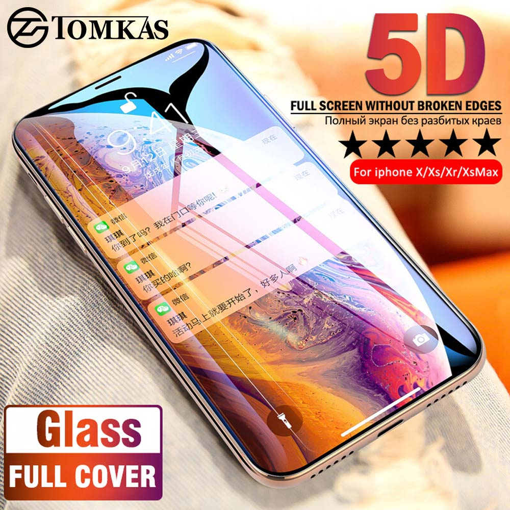 5D Protective Glass On the For iPhone XS Max XS XR X 8 Plus 7 Plus