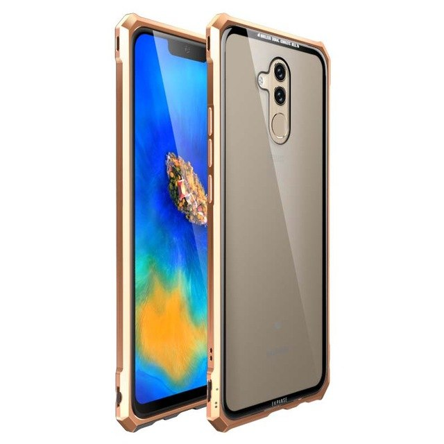 Luxury Metal Armor Case Tranparent Glass For Huawei