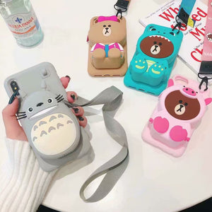 Cute cartoon bear wallet phone case