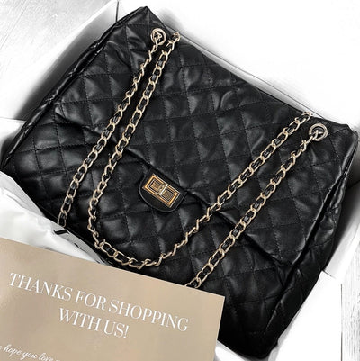 QUILTED SHOPPER BAG-BLACK