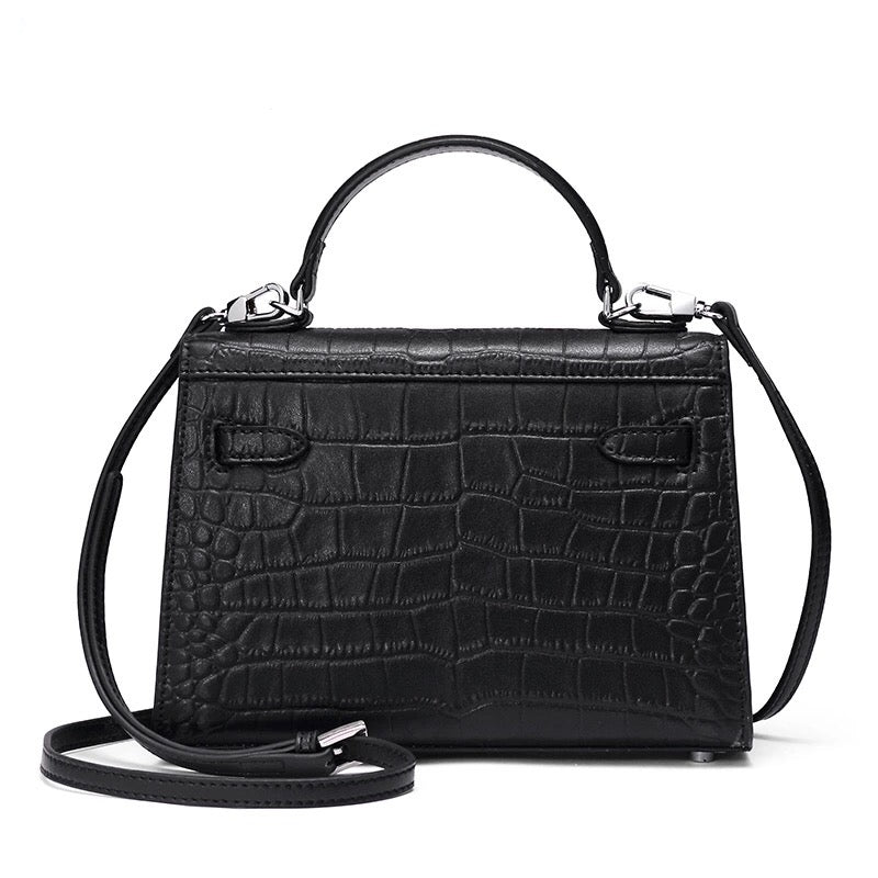 MILA BLACK CROC BAG
