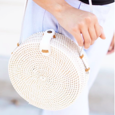 WHITE Rattan Bag  Handmade