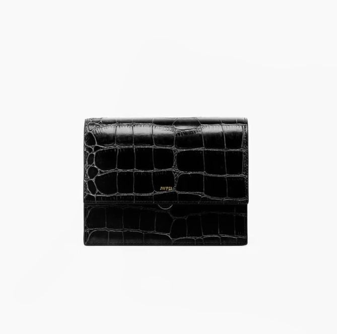 Mini Flap Bag - Black Croc