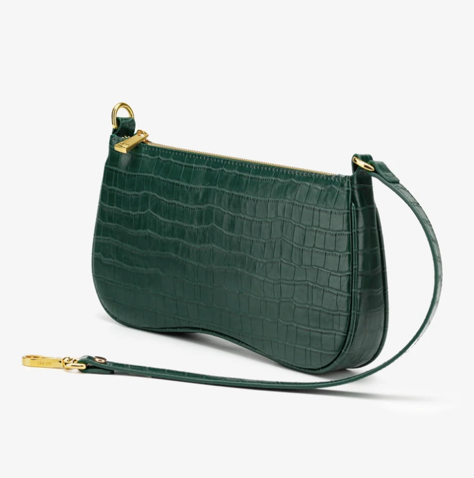 LARA Shoulder Bag - Dark Green Croc