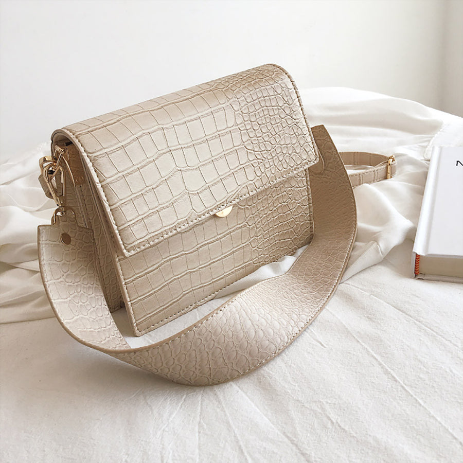 Mini Flap Bag - Cream Croc