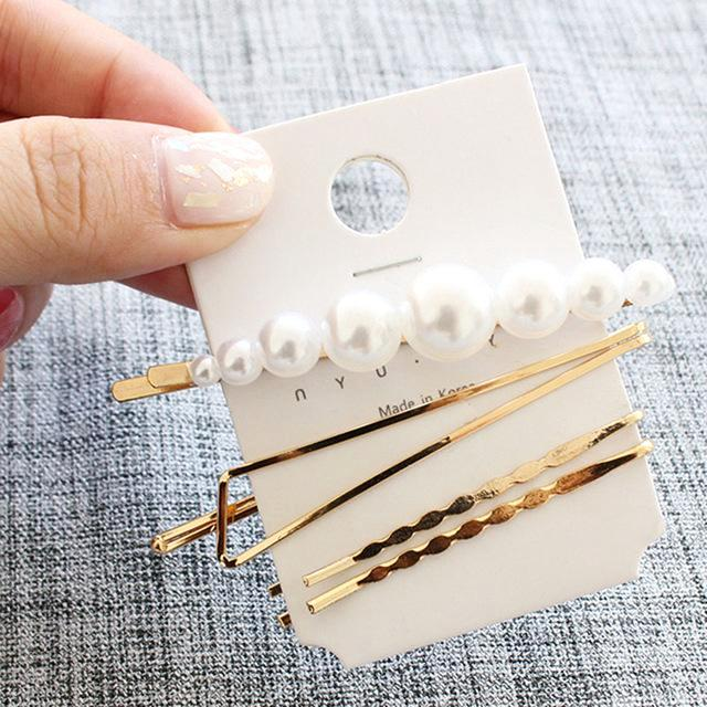 Pearl Metal Beaded Hair Clip- 3Pcs/set