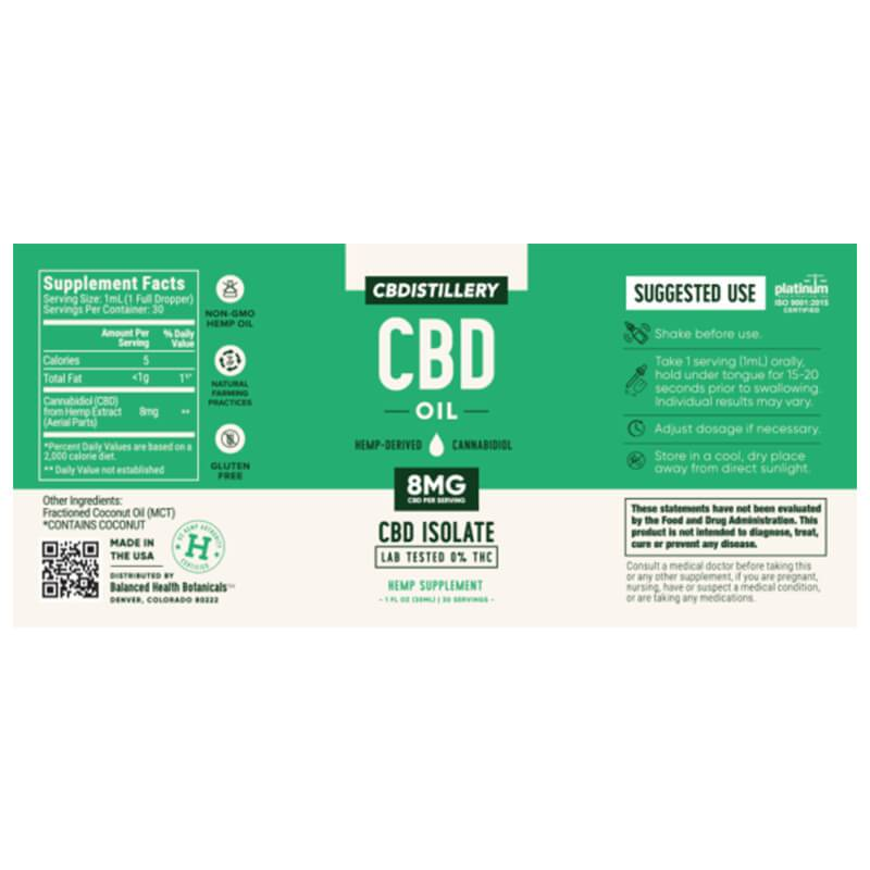 CBDistillery - CBD Tincture - Isolate Oil - 250mg - Oils -  - CBDistillery - Have A Nice Day CBD