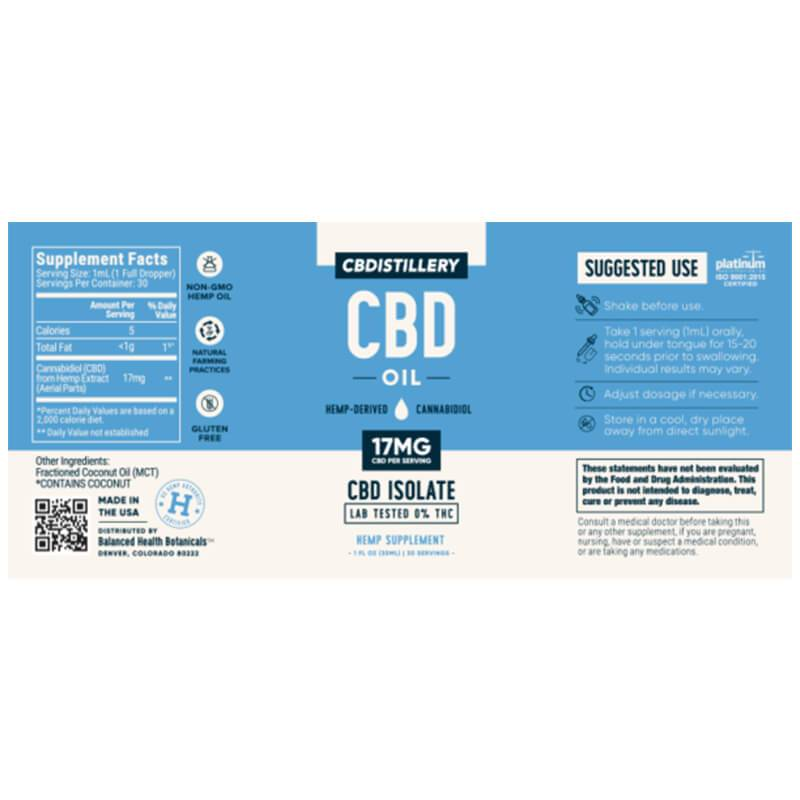 CBDistillery - CBD Tincture - Isolate Oil - 500mg -  -  - CBDistillery - Have A Nice Day CBD