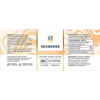 Seabedee - CBD Tincture - Anxiety Blend - 500mg - Oils -  - Seabedee - Have A Nice Day CBD