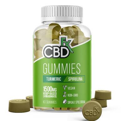 CBDfx - CBD Edible - Broad Spectrum Turmeric & Spirulina Gummies - 25mg - 1500mg - Edibles -  - CBDfx - Have A Nice Day CBD