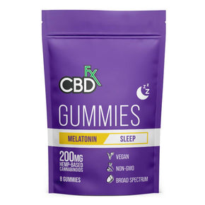 CBDfx - CBD Edible - Broad Spectrum Melatonin Sleep Gummies - 25mg - 1500mg - Edibles - 8ct Pouch - 200mg - CBDfx - Have A Nice Day CBD