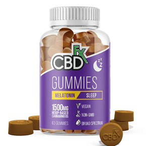 CBDfx - CBD Edible - Broad Spectrum Melatonin Sleep Gummies - 25mg - 1500mg - Edibles - 60ct Bottle - 1500mg - CBDfx - Have A Nice Day CBD