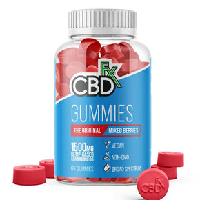 CBDfx - CBD Edible - Broad Spectrum Original Mixed Berries Gummies - 25mg - 1500mg - Edibles - 60ct Bottle - 1500mg - CBDfx - Have A Nice Day CBD