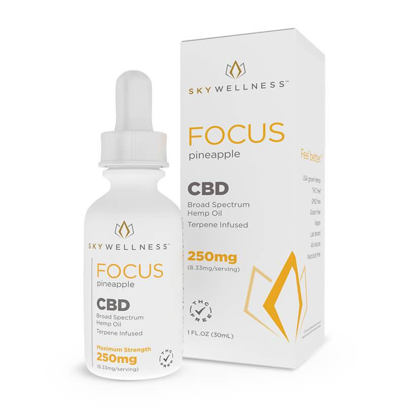 Sky Wellness - CBD Tincture - Focus Pineapple - 250mg-1500mg - Tinctures - Single - 250mg - Sky Wellness - Have A Nice Day CBD