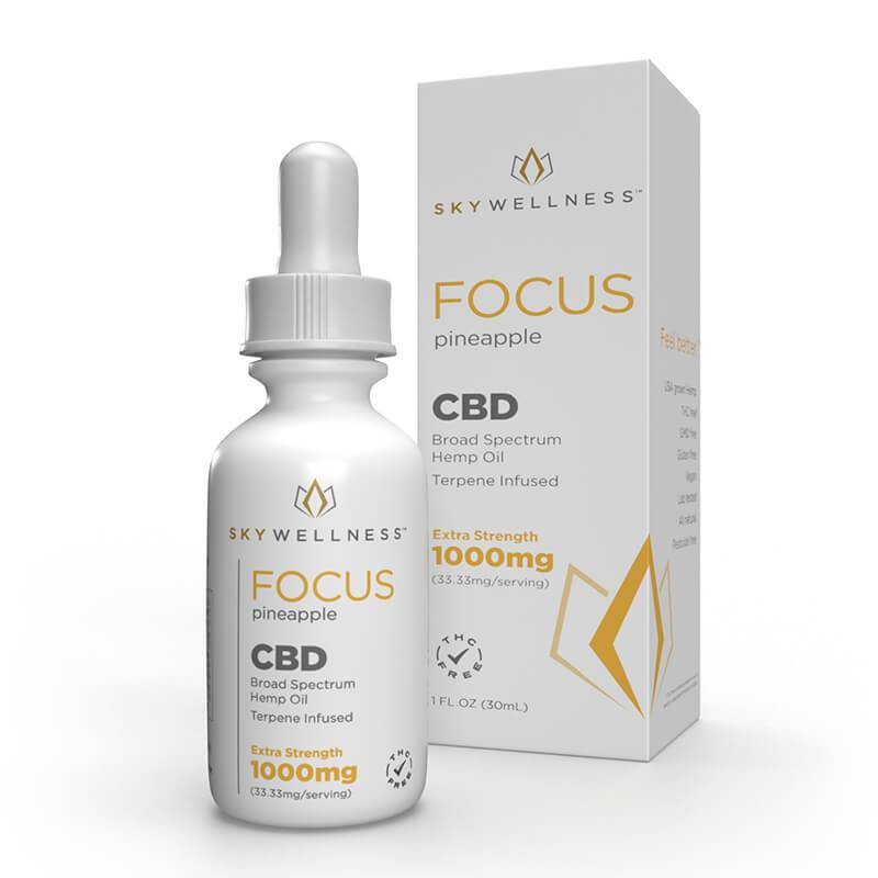 Sky Wellness - CBD Tincture - Focus Pineapple - 250mg-1500mg - Tinctures - Single - 1000mg - Sky Wellness - Have A Nice Day CBD
