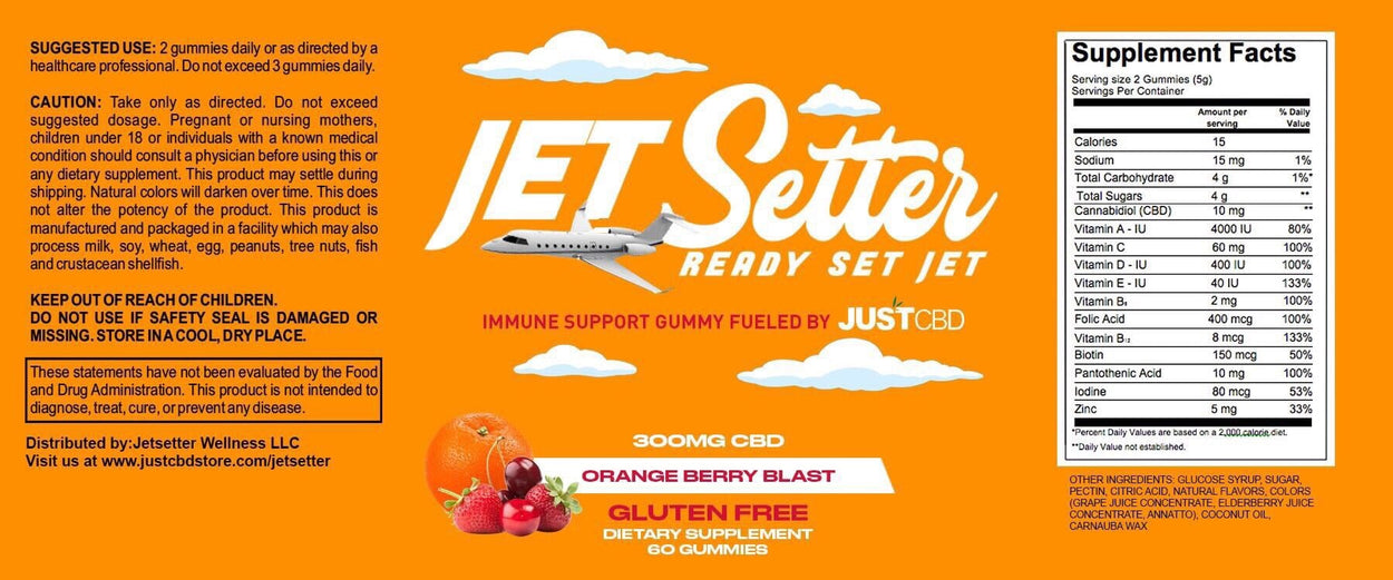 Just CBD - Jet Setter Immune Support - CBD Infused Vitamin Gummies - Have A Nice Day CBD