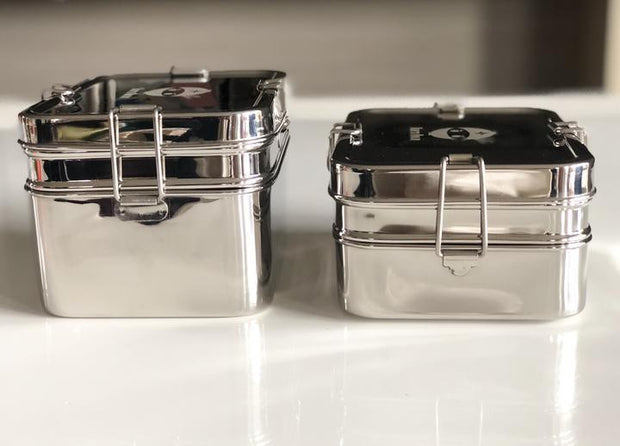 Single and double tier stainless steel bento lunch box