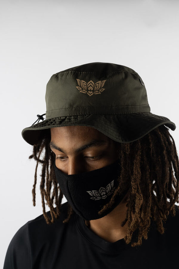 LOTUS BUCKET HAT - OLIVE GREEN