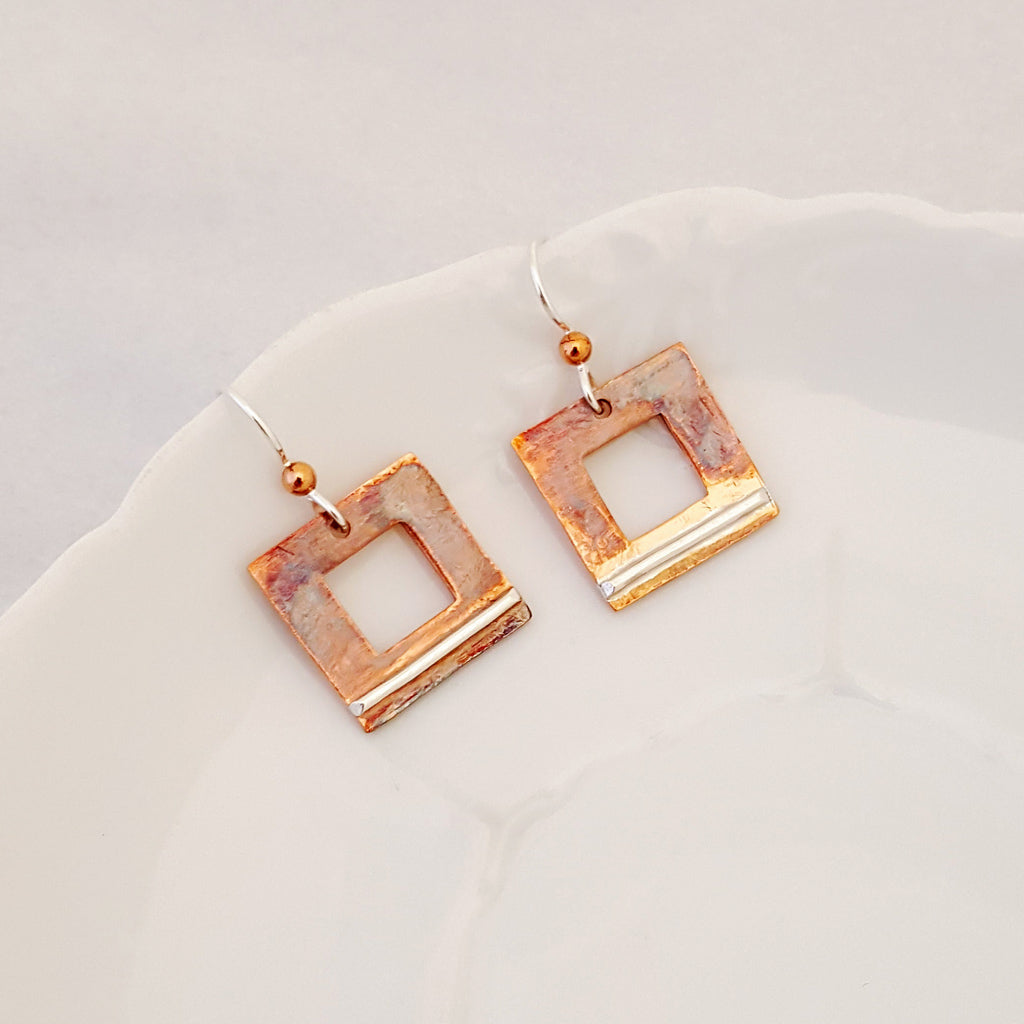 An Artful Balance in Square - Earrings