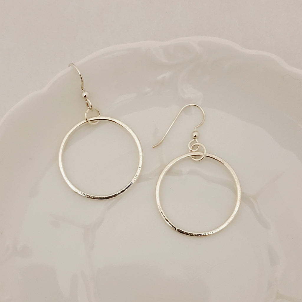Classic Circle Earrings in Sterling Silver - Select Size