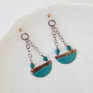 Color Dipped Drop in Turquoise - Earrings