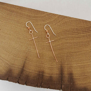 Contemporary Cross Earrings - Copper