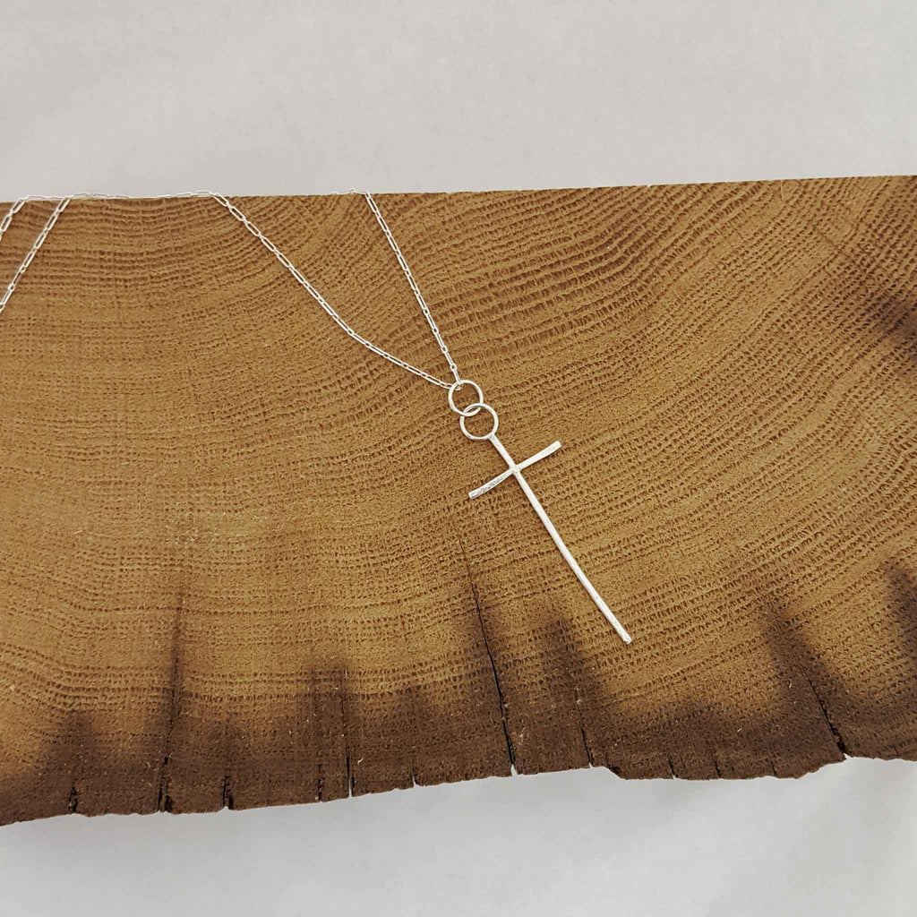 Contemporary Cross Necklace - Sterling