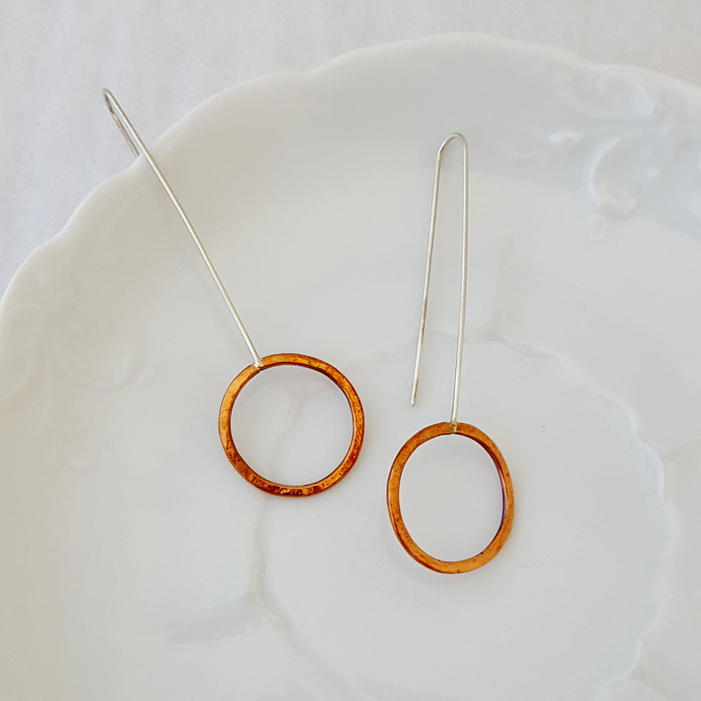 Contemporary Drop Earrings-Copper