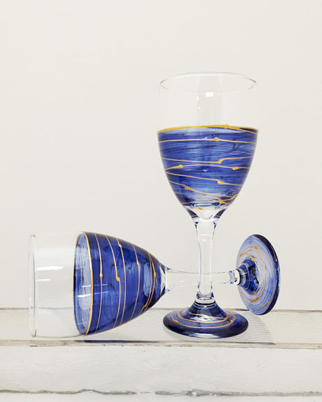 Hand-painted blue waters wine glass