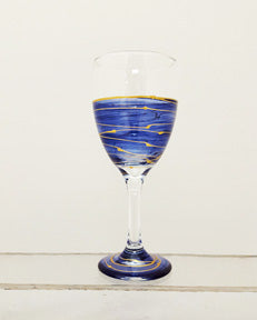Hand painted blue waters wine glass