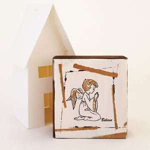 Little Angel Praying - Mini Word Block