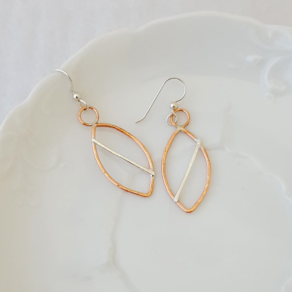 Modern Leaf Earrings-Copper with Sterling
