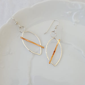 Modern Leaf Earrings-Sterling with Copper
