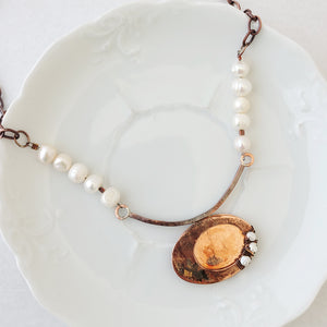 Patina and Pearls I - One of a Kind - Necklace