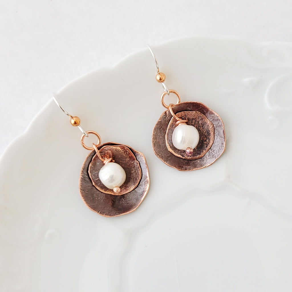 Patina and Pearls in Circle - Earrings