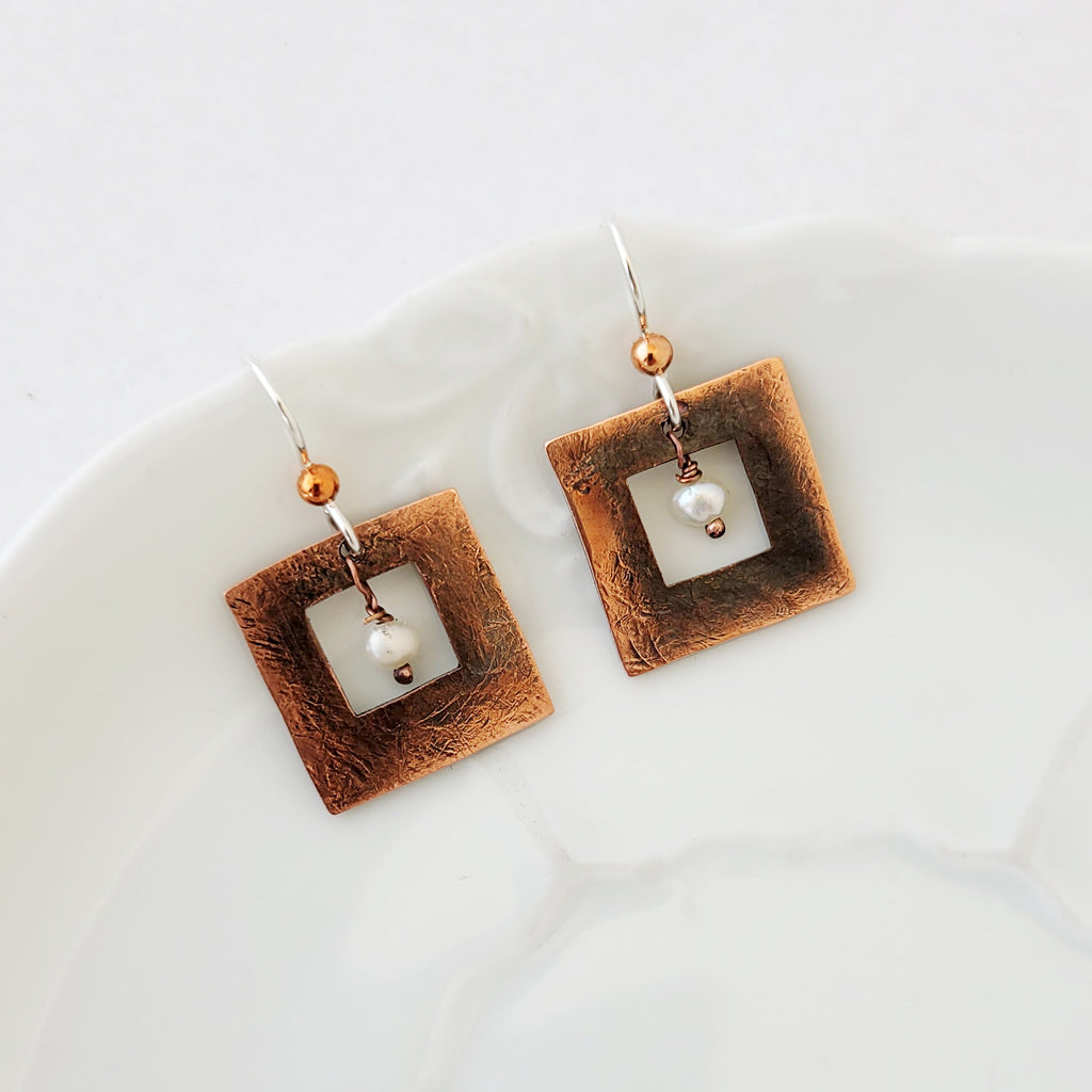 Patina and Pearls in Open Square - Earrings