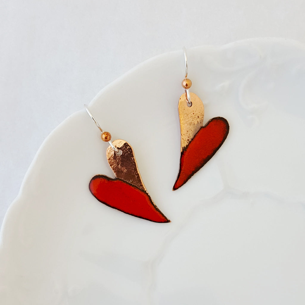 Red Hot Hearts - Earrings