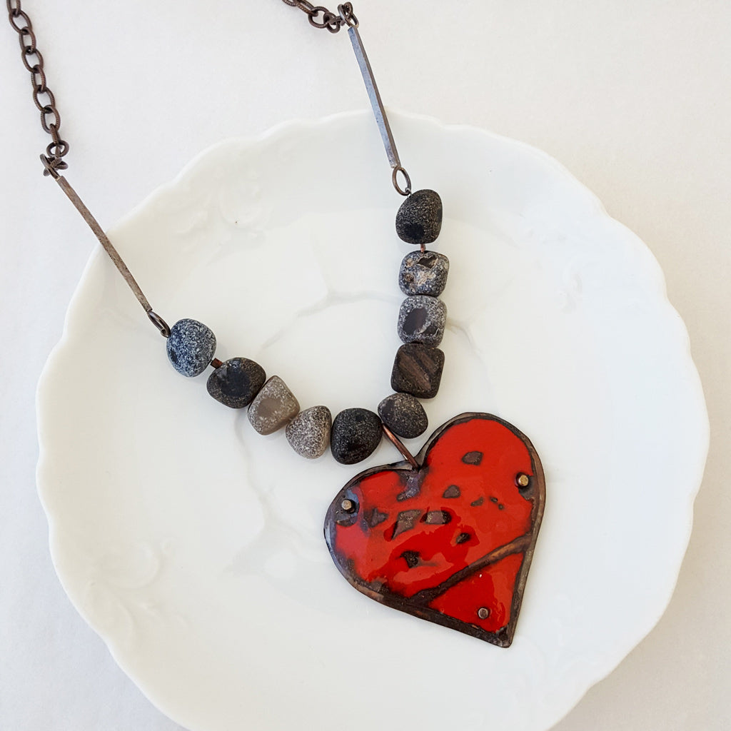 Red Hot Heart III - Necklace