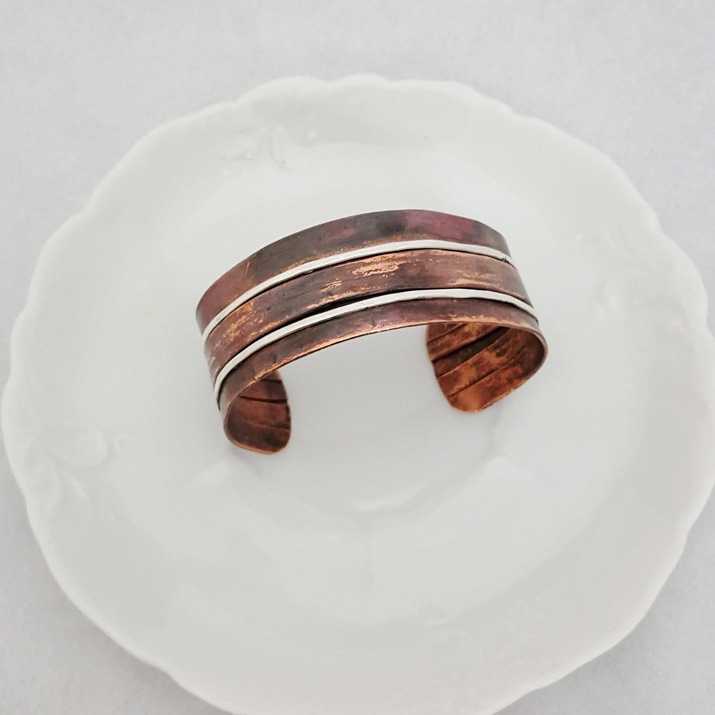 Sterling Row by Row Copper Cuff