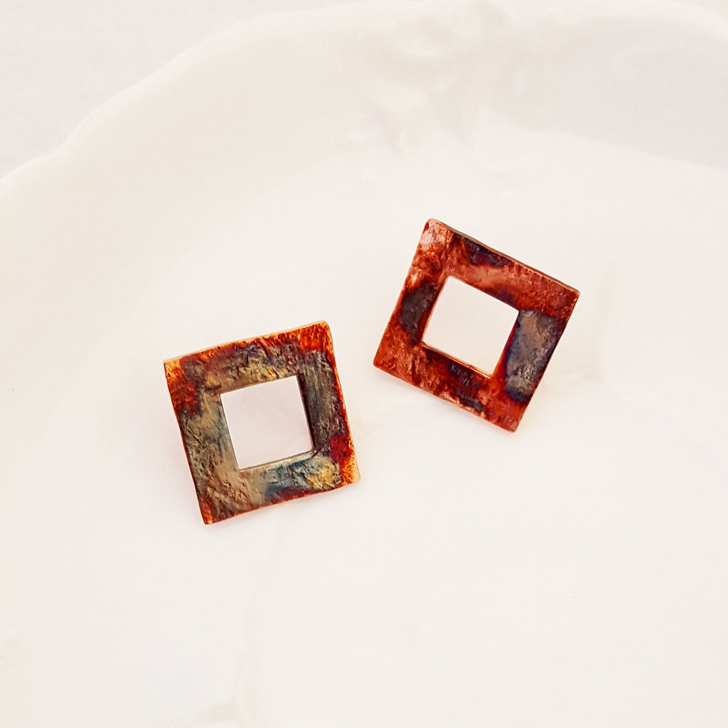 Urban Squares in Post - Earrings