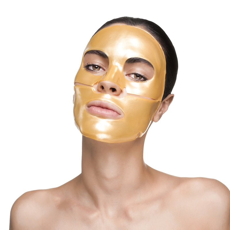 Woman wearing Nano Gold Repair Collagen Face Mask