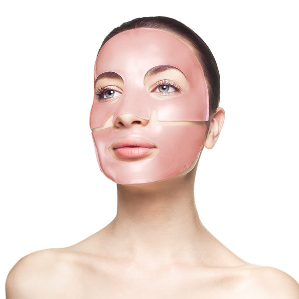 Woman wearing Knesko Skin Rose Quartz Antioxidant Collagen Face Mask