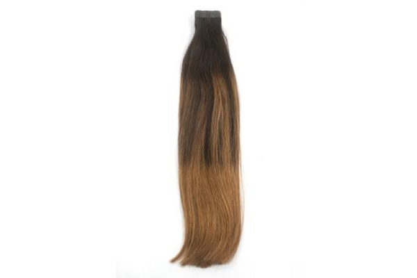 Dark Chocolate Caramel Ballayage 1b/8 Tape Extensions 16""