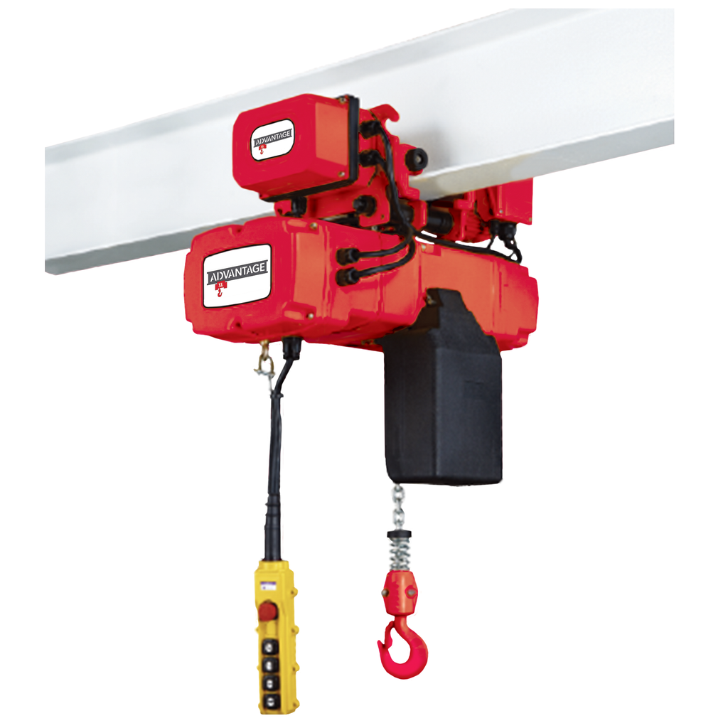 Electric Chain Hoist - 3 Ton Advantage XL Series 24/5 FPM Two Speed 460v Three Phase/w Motorized Trolley