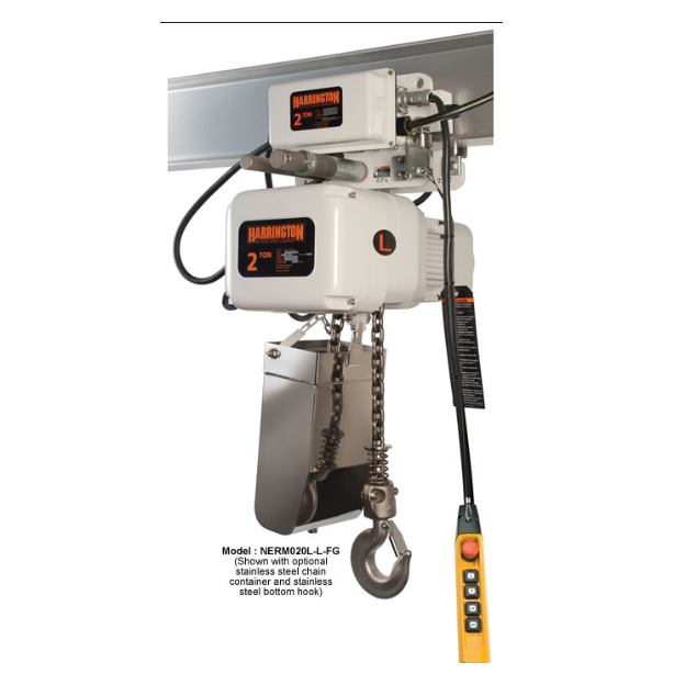 1 Ton Harrington Electric Chain Hoist - NER Food Grade Series 14 FPM 230/460v Three Phase