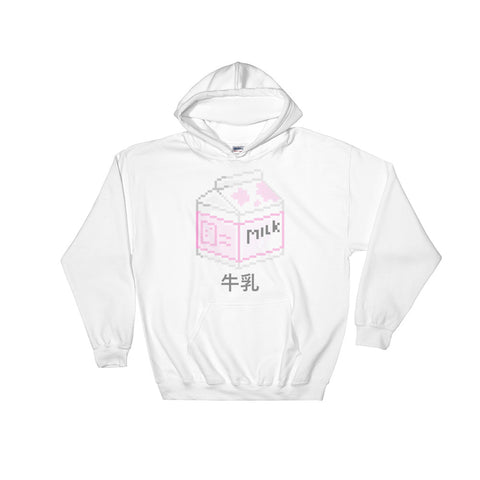 Milk Aesthetic Hooded Pink Sweatshirt (牛乳)
