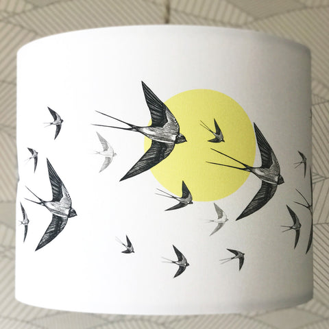 Yellow Swallows Lampshade