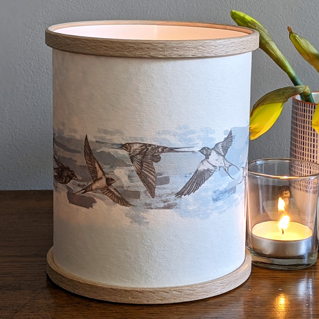 Blue Swallows Candle Cover