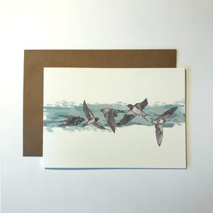 Blue Swallows Greetings Card