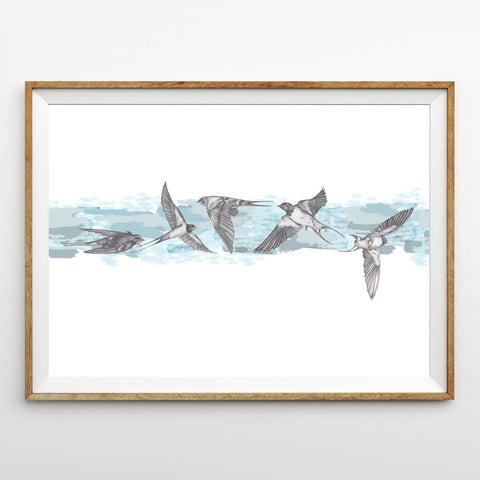 Blue Swallows Print